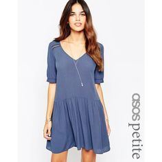 ASOS PETITE Smock Dress with Lace Insert Detail ($63) ❤ liked on Polyvore featuring dresses, navy, petite, blue dress, v neck dress, navy blue dress, petite dresses and loose dress