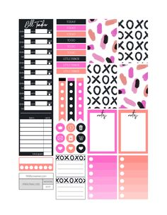 XOXO bold themed printable planner stickers. Includes free printable planner stickers for the classic size Happy Planner. Can also be cut down to fit the Erin Condren Life Planner or any of your favorite planners and inserts.
