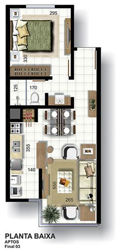 C2B imóveis - Empreendimentos na cidade de Lajeado- Edificio Cristiano 115 - Planta apartamento de 1 dormitório