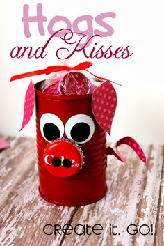 Hogs and Kisses Fun little can hog filled with hershey's kisses. Made from a tomato paste can. Great Valentines Day little gift for teachers or kids. Love this!