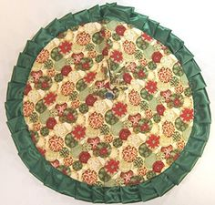 Christmas Tabletop Tree Skirt 24 Red Gold  Green Ornaments -- For more information, visit image link.