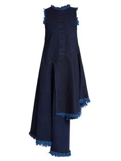 Frayed-edge asymmetric-hem denim dress | Marques'Almeida | MATCHESFASHION.COM
