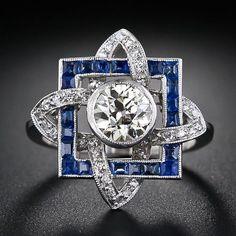 Art Deco 1.00 ct  Diamond Solitaire & Sapphire  Ring
