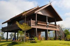 Bamboo House Design, Wooden House Design, Tropical House Design, Tropical Houses, Thai House, Rest House, House In The Woods, Style At Home, Wooden House Plans