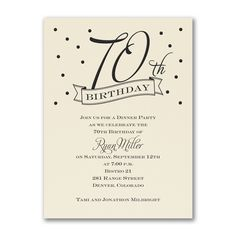 70th Confetti - Birthday Invitation - Ecru. Available at Persnickety Invitation Studio.