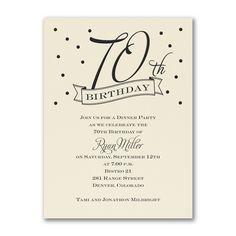70th Confetti - Birthday Invitation - Ecru. Available at Persnickety Invitation Studio.