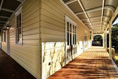 Restoring this magnificent heritage building at Baptist Redeemer School to it's former glory was helped by using Intrim's custom mouldings to achieve its original charm. Intrim supplied the following: External Cladding (weatherboards), Custom Eave linings and scotia, Turned Verandah Posts to match existing, Bull nose rafters, Verandah Brackets, Ovolo 70mm, Skirting around Door SK85 #mouldings Paint Colors For Home, Paint Colours, Roof Eaves, External Cladding, Exterior Trim, Outdoor Spaces, Outdoor Decor, Decking, House Painting