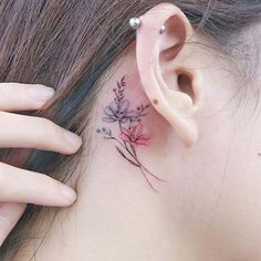 Delicate Behind the Ear Ink for Flower Tattoo Ideas for Women #TattooIdeasWrist #BehindTheEarTattooIdeas