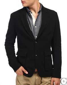 Wings + Horns  Cargo Blazer Heavy Jersey Knit Black