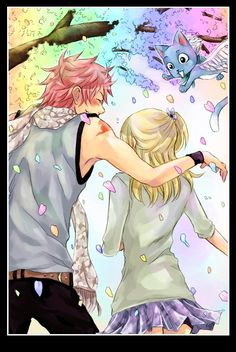 Natsu Dragneel, Lucy Heartfilia, Happy (Fairy Tail) Find a lot of #viralimages and #viralstories at ViralDojo.com