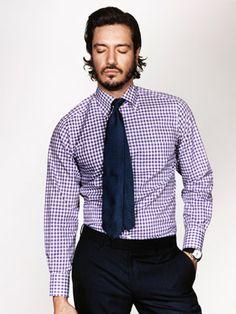 Shirts Men's Clothing Gentle Soho Workshop Men's Long Sleeve Blue Micro Check Shirt Size M