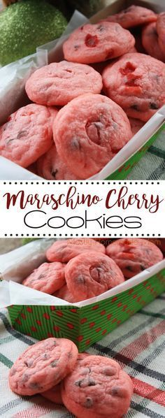 Maraschino Cherry Cookies - so pretty and so yummy! Chopped maraschino cherries with shortbread cookie dough and miniature chocolate chips - these little cookies are addictive!