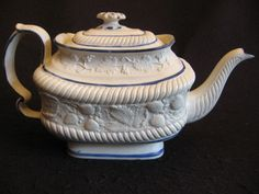 RARE LEEDS POTTERY PEARLWARE 'STRAWBERRY' PATTERN TEAPOT c.1820 Lt A/F attributed to the Hartley,Greens & Co factory in Hunslet (based  on the No.87 in the Drawing Book)  The rim surrounding the lid has the one chip  £410 BIN