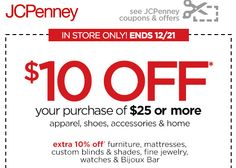 JCPenney $$ Coupon for $10/$25 Purchase!
