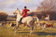 Hunting Print - Blowing Out, Limited Edition Hunting Print by Frederick Haycock Hunting Painting, Hunting Art, Fox Hunting, Most Beautiful Animals, Beautiful Horses, Horse Posters, Horse Silhouette, Vintage Horse, Horse Print