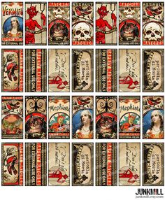 MEPHISTO TILES  Digital Printable Collage Sheet  by JUNKMILL, $3.95 Halloween Ii, Gothic Halloween, Halloween Images, Halloween Costumes, Vintage Labels, Vintage Cards, Halloween Apothecary Labels, Domino Jewelry, Decoupage