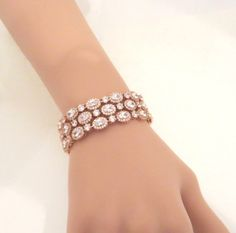 Rose Gold Bridal Bracelet Bridal cuff bracelet by treasures570