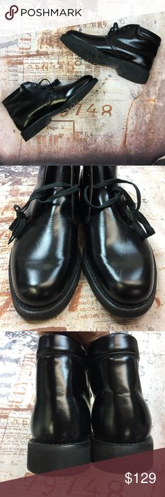 NEW Vintage Men boots 8.5 D black industrial goth Gorgeous lace up boots, ankle boots, brand new but vintage deadstock. Shiny black leather. Man made sole. Hanover brand.  US MEN SIZE: 8.5 Width: D  All footwear ships in USPS Priority boxes, carefully packaged. Havover Shoes Boots