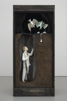 Marcel Dzama Now you must marry the rope maker's daughter Diorama composed of 2 plaster bats, 1 plaster figure, wire, and eucalyptus 58 x 27 x 20 inches Shadow Box Kunst, Shadow Box Art, Sculptures Céramiques, Sculpture Art, Art And Illustration, Collage Art, Collages, Ceramic Sculpture Figurative, Mixed Media Sculpture