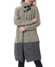 Another great find on #zulily! Beige & Black Toggle Cowl Neck Duster #zulilyfinds