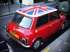 The original Mini Cooper with Union Jack roof is the perfect, stylish inner-city car for squeezing into tight spaces.