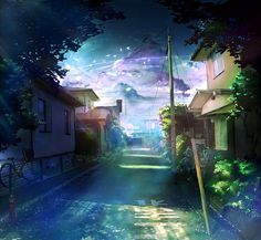 Tags: Anime, House, Leaves, Street, Building, Bicycle, Scenery