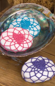 Heart Covered Soap Free Crochet Pattern from Aunt Lydia's Crochet Thread