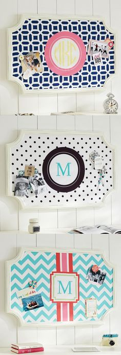 Monogrammed pinboard. I'll take one in each color, please! http://rstyle.me/n/nkwv2n2bn