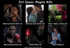 Evil Queen/Regina Mills can't stop laughing.