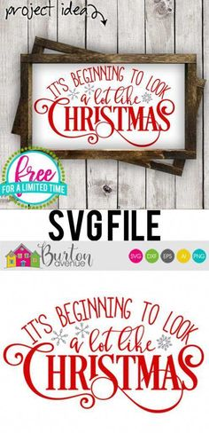 Free SVG Cut File - It's Beginning to Look a lot Like Christmas - Burton Avenue kieselsteinebilderkieselsteinebilderEasy Magnetic Christmas Countdown Sign - Burton AvenueMake this cute and easy christmas countdown sign with your cricut or Christmas Wood, Christmas Carol, Christmas Crafts, Christmas Decorations, Cricut Projects Christmas, Christmas Images Free, Diy Vinyl Projects, Christmas Fonts, Christmas Houses