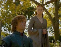 Unlikely couple: Tyrion Lannister takes a walk with his new bride Sansa Stark in Game Of Thrones season three finale