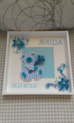 Baby Boy  Framed Quilled Floral Bear by NVCraftDesigns on Etsy, €65.00