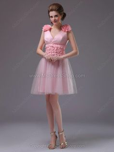 V-neck Pink Homecoming Dress Formal Dresses Online, Formal Evening Dresses, Party Dresses 2014, Mini Dress Formal, Pink Tulle, Prom Night, Homecoming Dresses, My Style