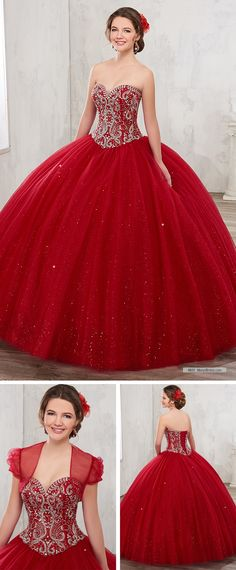 Mary's Quinceanera Style 4801 • Sparkling tulle quinceanera ball gown with strapless sweetheart neck line, beaded bodice, basque waist line, back lace-up closure, and matching bolero.