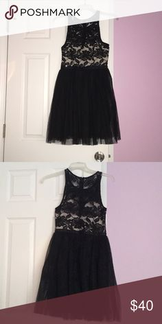 Black with silver dress Black  Silver crystals  Lace top Mini Only worn once PromGirl Dresses Mini