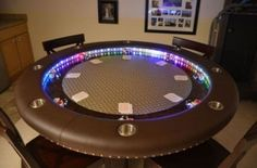 Every man cave needs a kick-ass poker table. Even though I'd play spades on it more often then poker. Custom Poker Tables, Poker Table Diy, Poker Table Plans, Games Design, Photo Games, Poker Night, Man Caves, Table Games, Game Tables