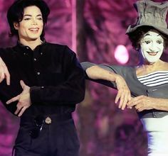 Michael Jackson (with mime Marcel Marceau) Mime Marceau, Send In The Clowns, Circus Clown, We Are The World, Lady And Gentlemen, Popular Culture, American Singers, Record Producer, Marcel