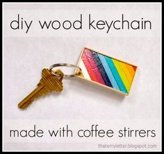 """That's My Letter: """"C"""" is for Coffee Stirrer Keychain, diy colorful wood keychain full tutorial @Pretty Handy Girl"""