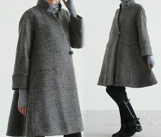159-Women's Loop-Yarns Wool Trapeze Coat,A-line Bracelet Sleeves Winter Swing Coat, Wool Coat,Simplicity,Cape Coat, Poncho Coat.