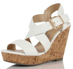 bb0696daa26 Delicious White Faux Leather Strappy Cork Wedge Heels Baymist