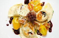 Chef John Korzekwinski of J. Betski's - Raleigh, NC | Chicken Liver Pierogies, Caramelized Onions, Foie Gras Bratwurst, Tomatoes. #savory #gourmet #finedining
