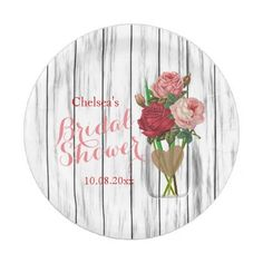 #pink - #Stylish Rose Mason Jar Bridal Shower Design Paper Plate