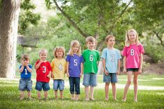 Cousins with their ages on their shirts. @Jenna M. we HAVE to do this!