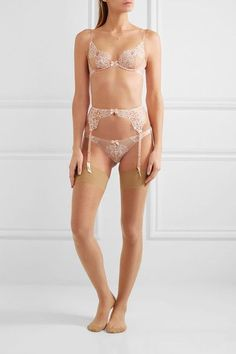 L'Agent by Agent Provocateur - Angelica Lace And Stretch-tulle Suspender Belt - Blush - x small