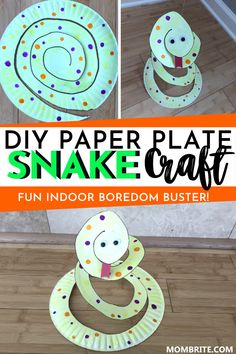 Want to learn how to make this DIY paper plate snake craft with your kids at home? This step-by-step tutorial will not only show you how to make this animal native to Arizona, but also includes fun activities you can do using this adorable DIY craft. Paper Animal Crafts, Paper Plate Crafts For Kids, Animal Crafts For Kids, Toddler Crafts, Diy Crafts For Kids, Projects For Kids, Fun Crafts, Art Projects, Ocean Crafts