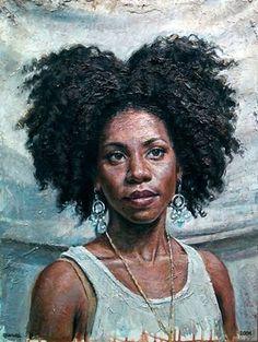 Artist: Tim Okamura, 2002 {contemporary figurative female head #naturalhair african-american black woman face portrait texture painting grunge art drips #loveart} timokamura.com