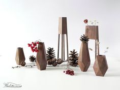 Wood vase modern home decor dry flower vase housewarming