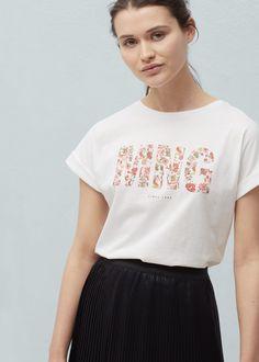 Camiseta algodón estampado - Camisetas de Mujer   MANGO España