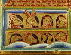"Nicolas of Verdun. Animals looking out of the Ark's windows. Detail from the panel ""Noah's Ark"" of the Verdun Altar. Enamel plaque in champleve technique on gilded copper (begun 1181)"