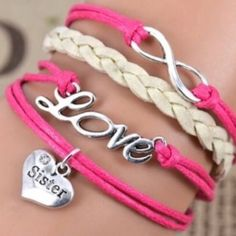 Cute Pink Sister Love Bracelet This fashionable Multi Strand Infinity Bracelet is the perfect accessory for any outfit and would make the perfect gift for friends and family or an extra special treat for yourself! – Multi strand bracelet attached with a metal clasp– All orders shipped the same day! Jewelry Bracelets